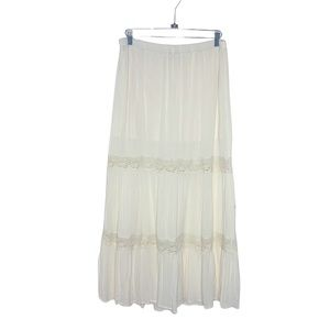 MOSSIMO Ivory Bohemian Crochet Detail Maxi Skirt L